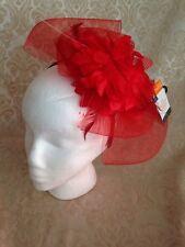 Dark Pink  Floral Flower Puff Fascinator Headband Hat Halloween