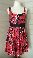 NEXT Red Floral 50s Style Fit& Flare Skater Dress Size 14 Occasion Wedding Races