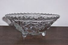 Vintage Pressed Glass Bowl - 3 Legs - Rippled rim top - Cut Look with Stars