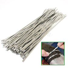 100x Top Quality Stainless Steel Metal Cable Ties Tie Zip Wrap Exhaust