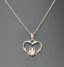 """New Avon Sterling Silver CZ Claddagh Necklace 18"""" Chain Irish Heart Hands Crown"""