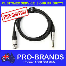 """2-Metre QUALITY XLR Female to Male 1/4"""" Microphone Link Cable Lead Cord PA 2M"""