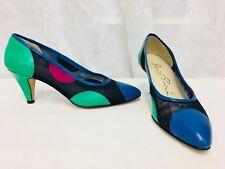 Vintage 1980's Color block Italian Leather Shoes Women's 6B David Evins Mesh