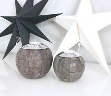 Amaris Elements | Teelichthalter Rochen Leder braun grau rund Set 10xH9cm Kerze
