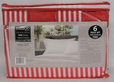 Bamboo Egyptian Comfort Series, 6 Piece Sheet Set KING Size, RED & White