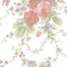 Wallpaper Victorian Cottage Rose Floral on White Background