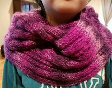 hand-knitted double loop scarf with lion brand  yarns(multi-purple)