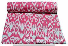 Hand Block Sanganeri Print Fabric Sewing Material 3 Yard Pink Ikat Craft