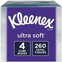 Kleenex Ultra Soft Standard Facial Tissue, 3-Ply, 65 Sheets/Box, 4 Boxes/Pack