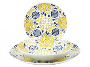 Servizio piatti rotondo porcellana H&H Guell 18 pezzi nuovo colorato giallo blu