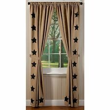 BURLAP & BLACK STAR WINDOW PANEL SET : PRIMITIVE NATURAL BROWN COUNTRY CURTAIN