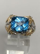 Victoria Wheck Sterling Silver and Vermeil Blue Topaz Starfish Ring Size 9
