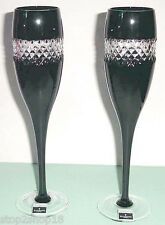 Waterford John Rocha Champagne Flute(s) SET/2 Black Cut Cased Crystal 135499 New