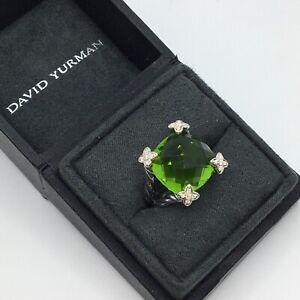 David Yurman 925 Silver 14mm Cushion On Point Peridot w/ Diamond Ring Sz 7