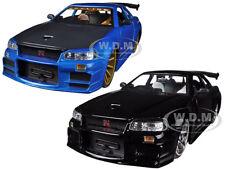 NISSAN  SKYLINE GT-R BNR34 BLACK & BLUE SET OF 2 CARS 1/24 JADA 96812-SET