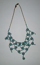 NWOT!  Turquoise/Goldtone Intricate Austrian Crystal Bib Necklace (Sample)