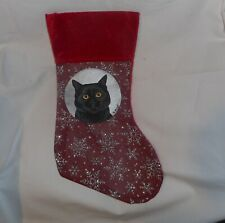 Black Bombay Cat Hand Painted Christmas Gift Stocking Decoration