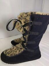Rocket Dog Womens Black Slipper Boots Flat Faux Fur Pull on Tassels Size 8 1/2