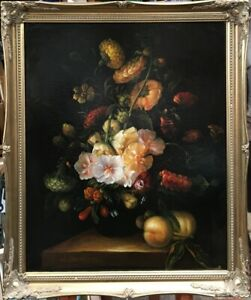 20th Century European School Oil on Canvas Floral Still Life Painting. Signed.