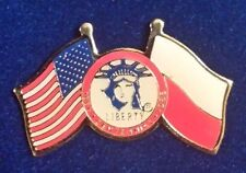 Coca Cola USA Liberty Flags Of Freedom Ellis Island Poland Lapel Pin Rare Vintg