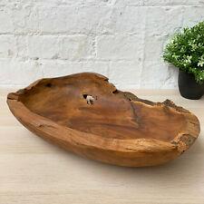 Antique Rustic Kitchen Hand Carved Teak Root Wood Fruit Snacks Food Bowl 45cm