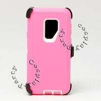 Samsung Galaxy S9+ Plus Fits Otterbox Defender Case  w/Belt Clip Hot Pink White
