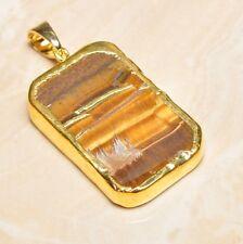 "Handmade Natural Golden Tiger's Eye Gemstone Pendant 2"" #P17305"