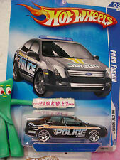 2009 Hot Wheels Police FORD FUSION #109/190~Black w/Blue lights~~HW City Works