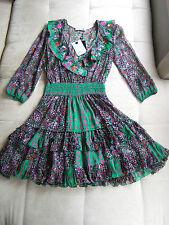 New Blumarine embroidered peasant style flower print silk dress I42 10UK 8US