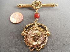Vintage NOS big high quality Roman empire gold tone glass drop pin brooch D31