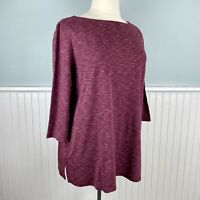 Size 2X Karen Scott Burgundy 3/4 Sleeve Tunic Top Blouse Shirt Pullover Plus NWT