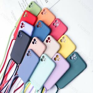 For iPhone 12 Pro Max 11 XS XR 7 8 Plus Liquid Silicone Soft Case Lanyard Cover