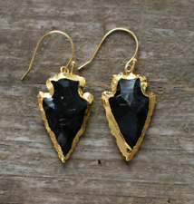 Natural Rough Raw Onyx Earrings Gold Boho Druzy Geode Arrowhead Black