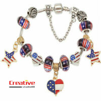 US! July 4th Red White Blue Charm Glass Bead Bracelet Patriotic American Flag