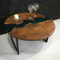 Epoxy River Coffe Table - Pine Wood Natural Oak Handmade Eco Tables Dining