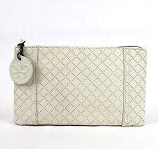 New BOTTEGA VENETA Intrecciomirage Leather  Clutch Pouch Bag White 301496 9904