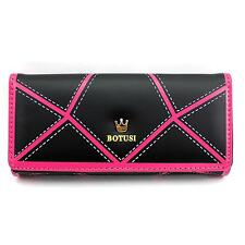 Black Color Fashion PU Leather Card Coin Phone Long Purse Clutch HandBag Wallet
