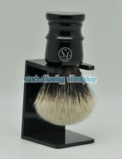 Frank Shaving Finest Badger Hair Shaving Brush Faux Ebony Hand Free Drip Stand