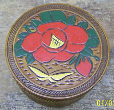 OCCUPIED JAPAN WOOD 6 COASTERS and HOLDER FLOWERS BUTTERFLY