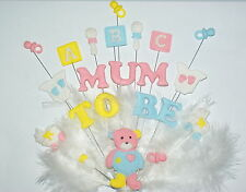 Mum to be baby shower cake topper with feathers