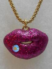 "Betsey Johnson Valentine's Day Hot Pink Glitter Lips Necklace w ""Hey Valentine"""