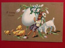 Easter Fantasy Postcard 1909, rabbit, huge egg shell w/flowers, goat, chicks
