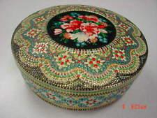Vintage Tin Holland Embossed Multi Colored Flowers Lid Used Textured