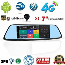 """4G Android 5.1 Car DVR camera RearView Mirror 7"""" IPS GPS wifi bluetooth Dash wA"""
