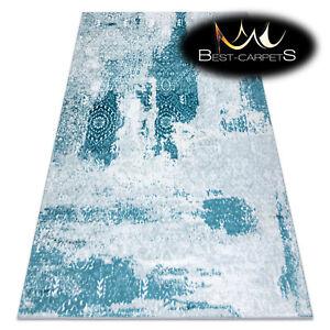 Modern Designer cheap Rug 'MEFE' Rosette structural CREAM / BLUE Best carpet