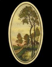 Gravure XXe signée à déterminer paysage bords de rivière