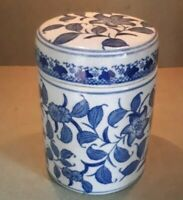 Vintage Ceramic Blue & White Ginger Jar Biscuit Barrel Caddy 18.5 x 13 cms