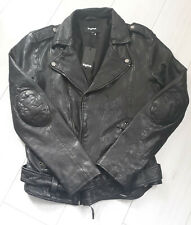 TIGHA Herren Biker Lederjacke   Black Schwarz  Sheep Leather Gr. L