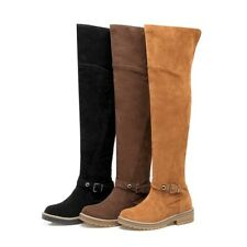 Womens Winter Buckle Decor Round Toe Shoes Faux Suede Over the Knee Boots Hot