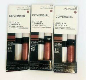3X CoverGirl Outlast 760 TWILIGHT COFFEE All Day Moisturizing Lip Color Top Coat